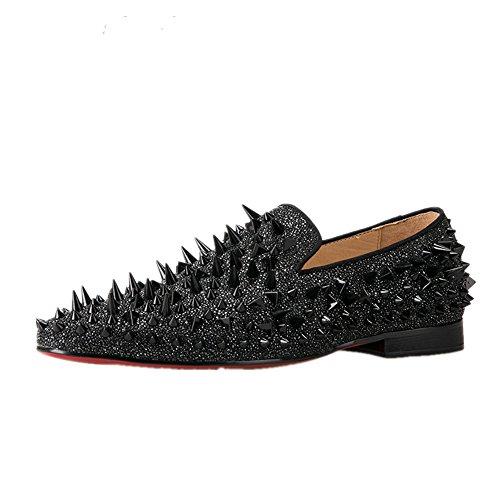 HI&HANN Men's Long Rivet Suede Nubuck Leather Loafer Shoes Slip-on Loafer Round Toes Smoking Slipper-12.5-Black by HI&HANN