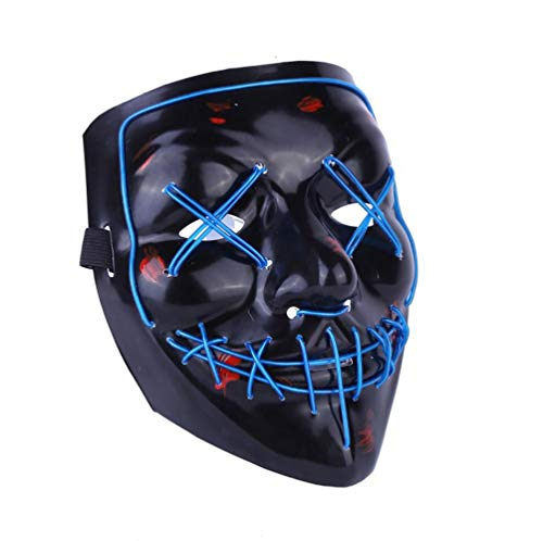 Halloween Mask EL Light Up Party Masks Purge Election Year Funny Masks Festival Cosplay Costume Supplies Glow LED,F -