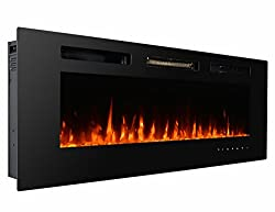 3G Plus Wall Recessed Electric Fireplace Crystal Stone Flame Effect 3 Changeable Color Heater, w/Remote, 1500/750 W - Black from 3GPlus
