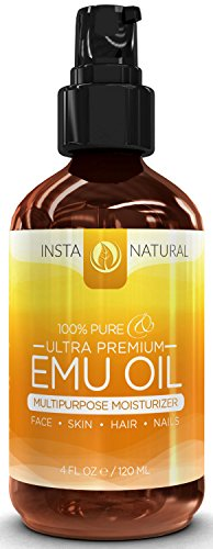 InstaNatural Emu Oil - Pure Moisturizer for Strengthened Hair, Stretch Marks, Scars, Joint & Muscle Pain - All in One for Body, Skin, Eyes, Face & Nails - Essential Product - Cream Plus Msm Body