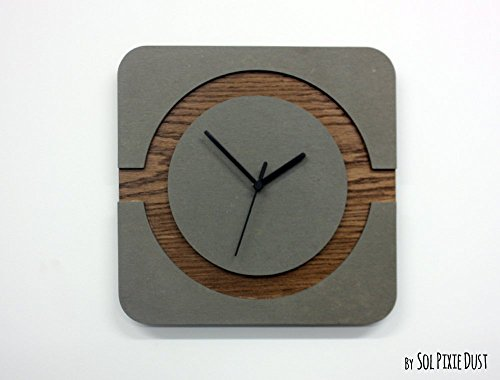 Blomus Table - Concrete and Wood Square Circle Wall Clock - Modern Wall Clock