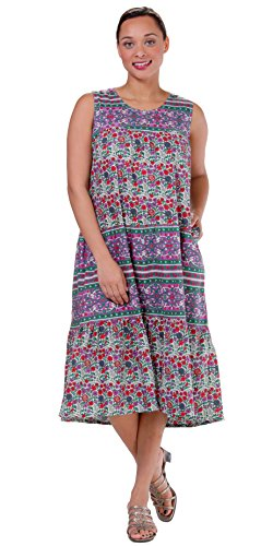 La Cera Cotton Dresses - Sleeveless Muumuu Dress in Berry Pleasant (Purple/Red/Green, Small (6-8)) (Sleeveless Muumuu)