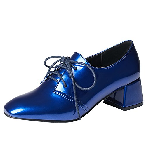 Heel Womens Shoes Up Patent Chunky Oxfords Lace Blue Shine Leather Show 0qRBHB