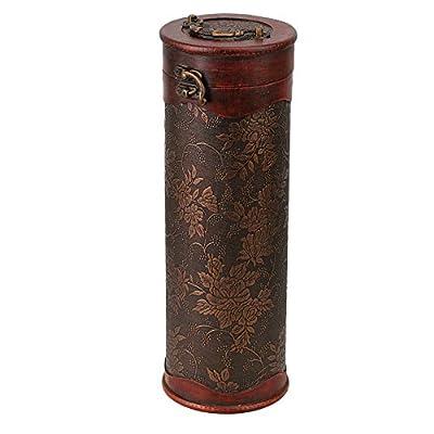 Mxfans Retro Round Wooden Vintage Wine Bottle Case Holder Storage Box
