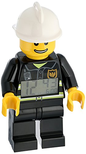 LEGO City 9003844 Fireman Kids Minifigure Light Up Alarm Clock| black/white | plastic | 9.5 inches tall | LCD display | boy girl | official