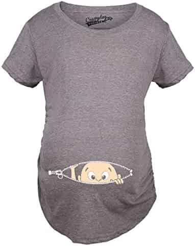0052f0b7a597a Maternity Baby Peeking T Shirt Funny Pregnancy Tee for Expecting Mothers