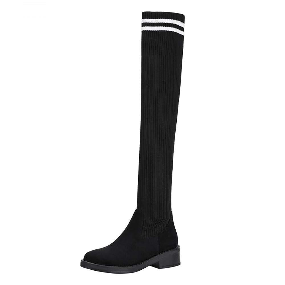 Qingchunhuangtang Winter gestrickte elastische Schuhe Nähen Strümpfe Stiefel Wild Kniestiefel Damen