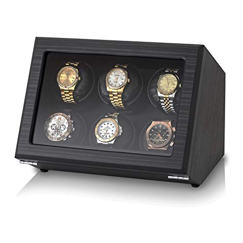 - Watch Winder for 6 Automatic Watches with Motor-Stop Option and Battery Compartment (Black Veneer)