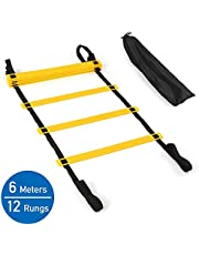 cuasen 6M 12Rungs Speed Agility Ladder with Carry Bag for Soccer Football Training
