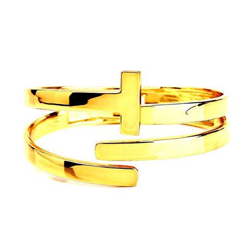 United Elegance - Contemporary Gold Tone Hinged T-Bar Cuff Bangle Bracelet from United Elegance