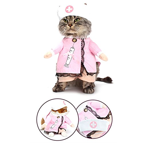 Fun Cat Costumes (NACOCO Dog Cat Nurse Costume Pet Nurse Clothing Halloween Jeans Outfit Apparel (S))