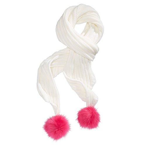 - Betsey Johnson XOX Trolls Knit Scarf with Pom Poms, Cream/Pink
