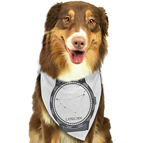 Dog Bandana Zodiac Capricorn Greyscale Watch Dial Design with Horoscope Constellation Motif W27.5 xL12 Scarf for Small and Medium Dogs and Cats