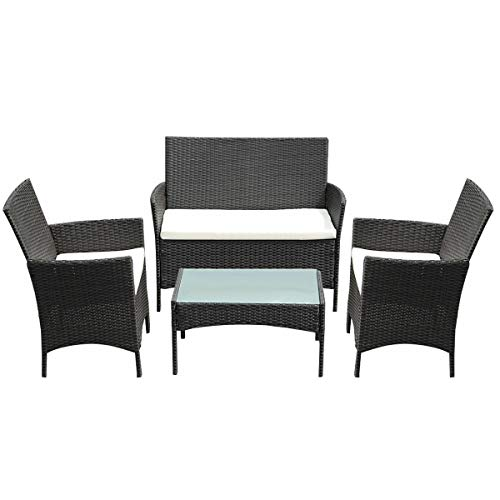 - AK Energy 4 PC Set Outdoor Brown Patio Wicker Chair 2 Single Sofa 1 Loveseat Glass Top Coffee Table Cushioned Seat w/Removable Cover