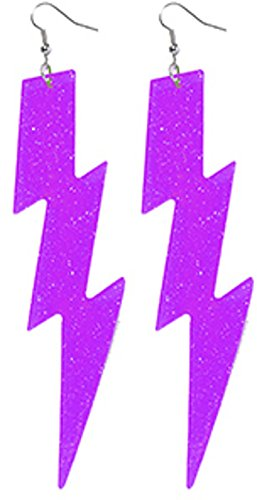 Forum Novelties Neon Purple Lightning Bolt Earrings