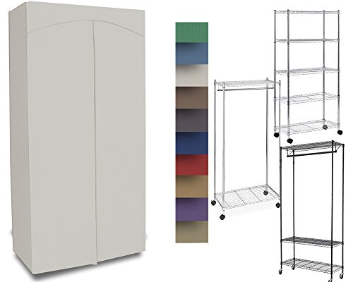 Premium Canvas/Duck Cover 14x30x56 fits an Existing Garment/Shelf Unit (not Included) Cream