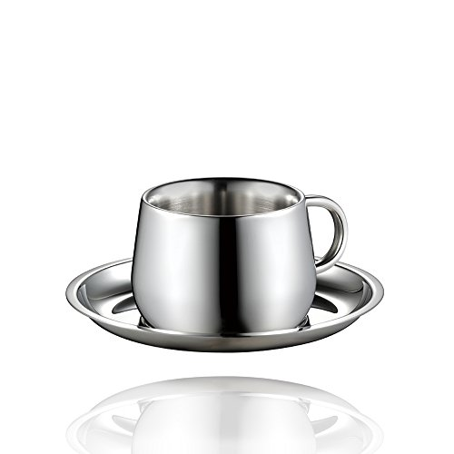 Minos Coffee Cup and Saucer (3oz) - Double Wall Stainless Steel Espresso/Tea Cup with Saucer - Classic, Elegant Design Helps Keep Beverages Warm - Hand-Polished and Easy to Maintain