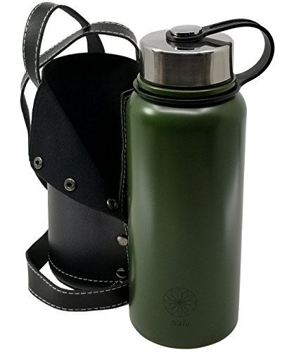 Steel Vacuum Insulated Hydro Water Bottle | Wide Mouth Thermos Flask | Stays Cold 24 Hours & Hot 12 Hours | BPA Free Cap | 27oz Green | INCLUDES BONUS CARRIER with Strap (Love Trek Water Bottle)