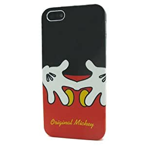 Hand Shape Mickey Mouse Hard Plastic Case Cover Shell Protective for Apple iPhone 5 5S 5G Generation with Batman style back pin 2.3 inch badge
