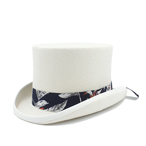 Battle Men Felt Top Hat for Women/Men Steampunk Bowler Magic Hats Mad Hatter Wide Brim (Color : White, Size : (Felt Top Female Hat)