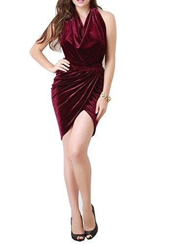 Women's Draped Halter Velvet Mini Dress Backless Party (Halter Draped Mini)
