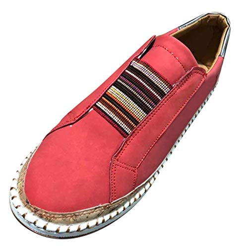 (TnaIolral Womens Shoes Fashion Summer Hollow-Out Round Toe Slip On Flast with Sneakers (US:7, Red))