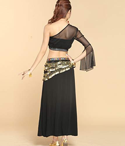 Longue Couleur Tops Unie Violet Une Costume Irrgulier Ventre Haute de TianBin Femme 2 paule du Danse Jupe Fente WvwRwAYq