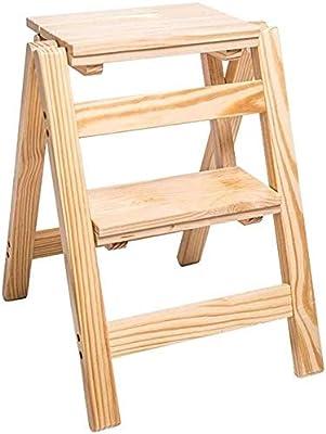 JPVGIA Escalera Plegable Innovador Creativo Flaps Etapas Biblioteca multifunción Escalera Sillas Escalera de Madera Silla Plegable con 2 Pasos - Madera Color: Amazon.es: Hogar