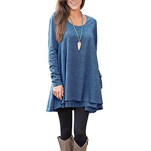 Tunique Feelingirl Longues Femme Rond Manches Pull Blouse Tops Bleu Shirt Longue 3xl Haut S Col Lâché Casual Dentelle qz4zXwr