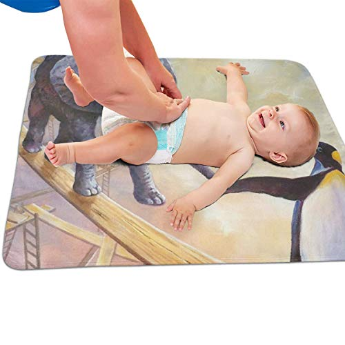 V5DGFJH.B Baby Portable Diaper Changing Pad Elephant with Penguin Urinary Pad Baby Changing Mat 31.5