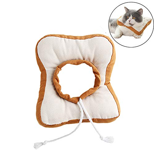 HenryDong Adorable Toast Bread Cat Costume and Tie for Halloween, Parties, Pictures, Soft Dog Recovery Collar, Adjustable E-Collar Does Not Block Vision, Surgery Soft Cone Pillow for Rabbit