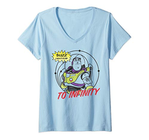 Womens Disney Pixar Toy Story Buzz Lightyear To Infinity V-Neck T-Shirt]()
