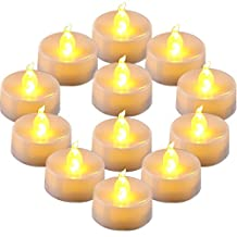 Homemory LED Flameless Fake Tea Light Candle, Amber Yellow Flickering Bulb, Pack of 12 Battery Operated Electric votive candle, Dia 1.4 Inch, Realistic and Bright effect for Party, Wedding
