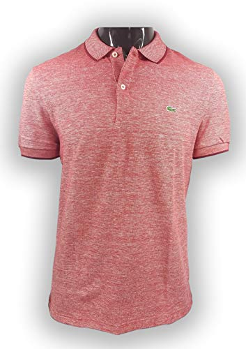 (Lacoste Men's S/S Printed Pique Classic FIT Polo, red, Large)