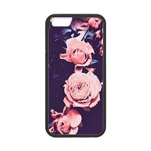 Iphone 6 Plus Case Retro Pink Roses by Leemarson for Black Iphone 6 Plus (5.5)inch Screen lmar609622