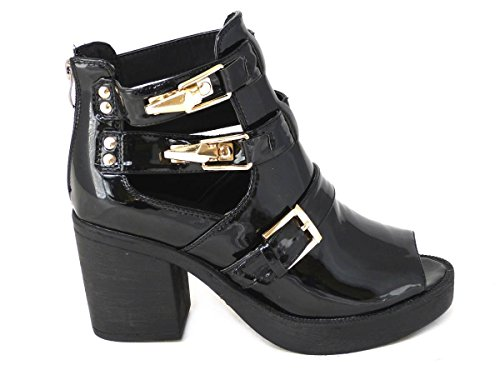 4 Toe Black Shoes 3 Designs Boots Clasps Gold Peep Cut Ankle 7 Sole Out 8 5 Chelsea Toe Patent Cleated Womens Various Peep Size Buckle Ladies Sides 6 Sp6qAxHw