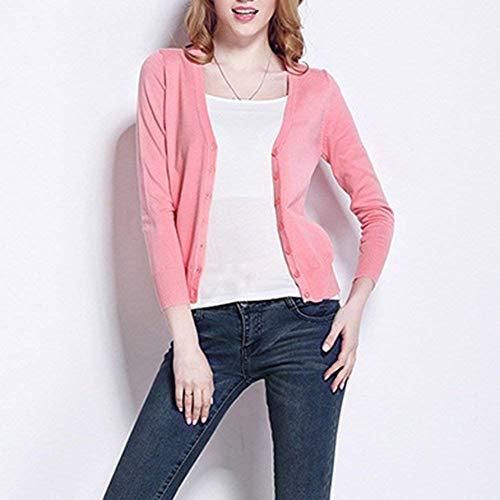 neck Puro Pullover Giacca Breasted Fashion Eleganti Donna Single Maglia Grazioso A Colore V Maglioni Maniche Pink Primaverile Casual Lunghe Stlie Cappotto Autunno PqraP6w