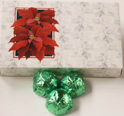 Scott's Cakes White Chocolate Lemon Cream Filling Candies with Light Green Foils in a 1 Pound Poinsettia Box