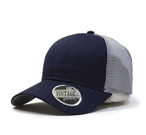 Vintage Year Plain Cotton Twill Mesh Adjustable Snapback Trucker Baseball Cap (Various Colors) (Navy/Gray)