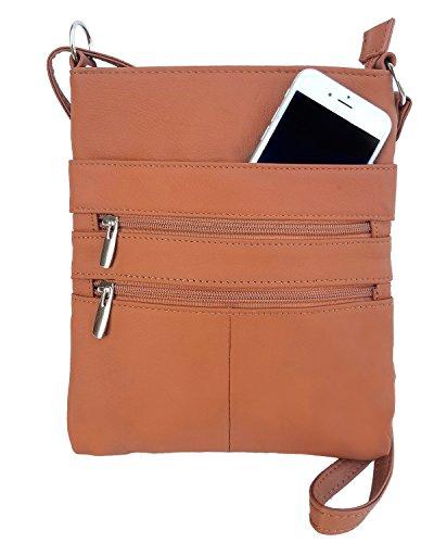 Roma Leathers Mini Body Purse - Five Compartments, Adjustable Strap - Light Brown