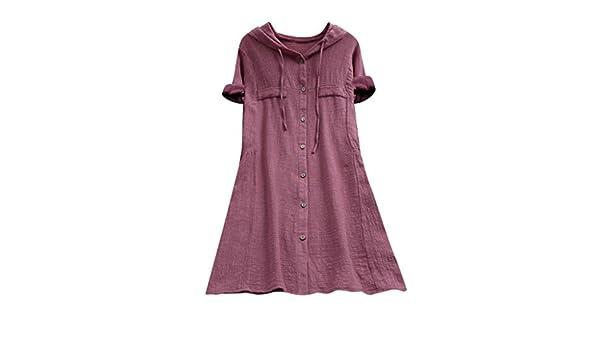 LSCOFFEE Blusa Suelta para Mujer, Talla Grande, de algodón, con ...