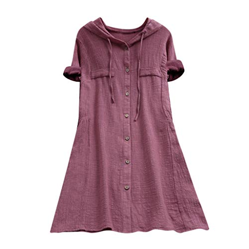 OrchidAmor Womens Button Plus Size Linen Cotton Tops Tee Shirt Hooded Pocket Loose Comfy Solid Short Sleeves Blouse