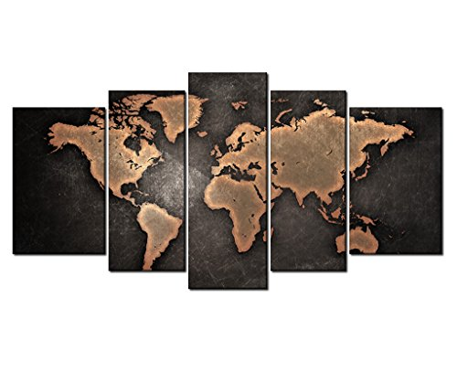 5 Pieces Still Life General Orange World Map Metalic Black Background Painting Pictures Print On Canvas Wooden Framed Home Decoration by uLinked Art by uLinked Art