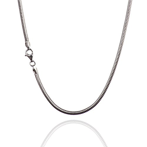 925 Sterling Silver 3.00 mm Real Snake Chain Necklace with Pear Shape Clasp-Rhodium Finish