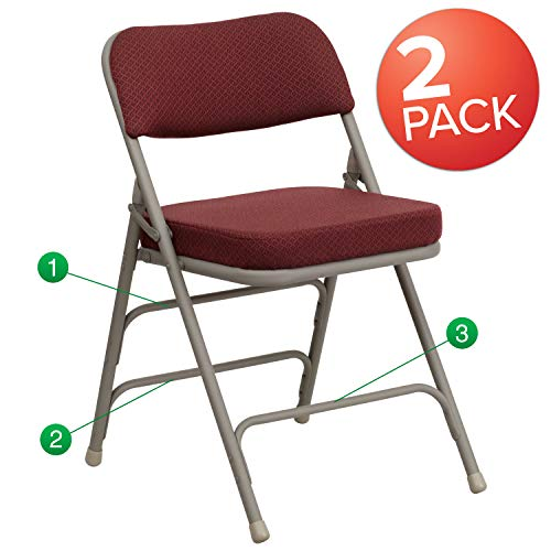 Flash Furniture 2 Pk. HERCULES Series Premium Curved Triple Braced & Double Hinged Burgundy Fabric Metal Folding Chair - Padded Folding Chair