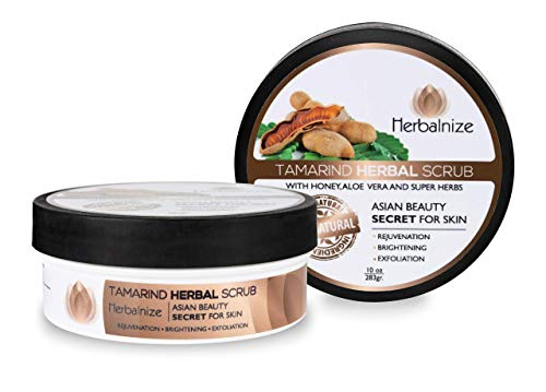 Herbalnize Tamarind Herbal Scrub - Dark Spot and Dead Skin Remover - Natural Facial and Body Cleansing - Face, Elbow, Knee, Armpit Whitening, Brightening and Lightening - Beauty Care Products - 10 Oz (Best Body Whitening Products)