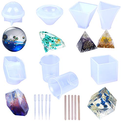 Resin Casting Molds, Large Clear Silicone Epoxy Resin Molds Includs Pyramid/Diamond/Cubic/Stone Shape/Sphere/Triangular Pyramid for DIY Jewelry Craft Making, with Mixing Cups and Sticks(6 Pack)