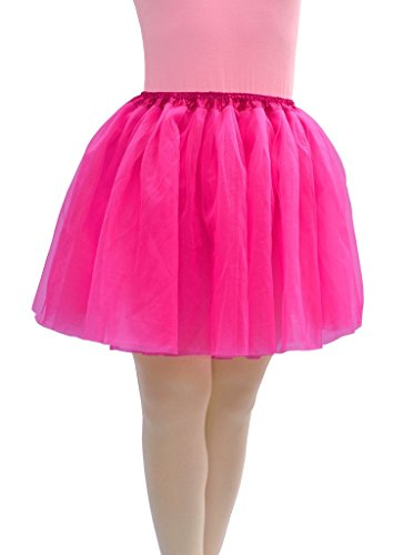 [Dancina Plus Size Adult Classic Tulle Tutu Skirt Now 4 Layer Hot Pink] (Womens Boxing Costumes)