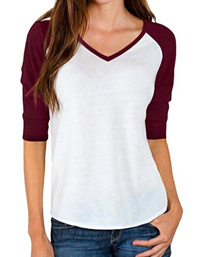 REGNA X womens loose fit color block raglan 3 4 sleeve baseball T-shirts Wine