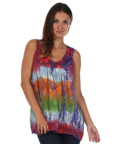 Multicolore Corail and Paillettes Manches Sans Floral Sakkas Tie Chemisier Dye qp7BUB